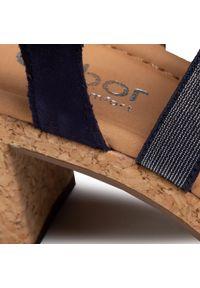 Niebieskie sandały Gabor na średnim obcasie, casualowe, na obcasie