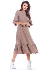 Awama - Cappuccino Rozkloszowana Midi Sukienka z Bufiastym Rękawem 3/4. Materiał: poliester, elastan. Długość: midi