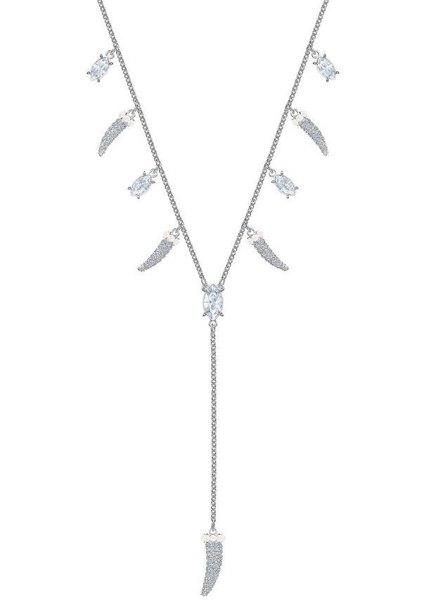 Srebrny naszyjnik Swarovski z kryształem, z aplikacjami, ze stali szlachetnej