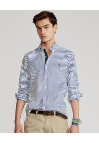 Ralph Lauren - RALPH LAUREN - Niebieska koszula w paski Custom Fit. Typ kołnierza: polo. Kolor: niebieski. Materiał: bawełna. Wzór: paski