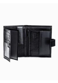 Ombre Clothing - Portfel męski A248 - czarny - uniwersalny. Kolor: czarny. Materiał: materiał, poliester