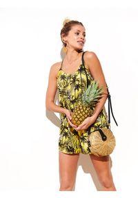 DRYWASH - Printowana koszulka na ramiączkach. Kolor: żółty. Materiał: tiul, materiał, tkanina. Długość rękawa: na ramiączkach. Wzór: nadruk. Sezon: wiosna, lato. Styl: elegancki