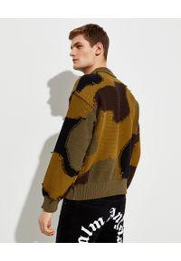 PALM ANGELS - Sweter w moro. Kolor: zielony. Materiał: dzianina. Długość rękawa: długi rękaw. Długość: długie. Wzór: moro