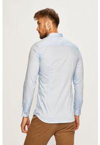 Premium by Jack&Jones - Jack & Jones - Koszula. Typ kołnierza: kołnierzyk włoski. Kolor: niebieski. Materiał: tkanina. Wzór: gładki