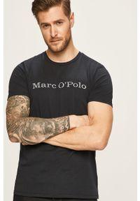 Niebieski t-shirt Marc O'Polo polo, na co dzień, z nadrukiem
