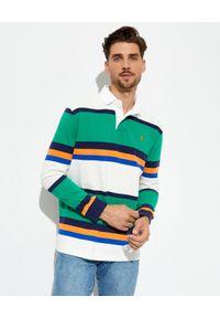 Ralph Lauren - RALPH LAUREN - Zielona koszulka polo w pasy Rugby. Typ kołnierza: polo. Kolor: zielony. Materiał: bawełna, tkanina, prążkowany. Długość rękawa: długi rękaw. Długość: długie. Wzór: haft, aplikacja. Styl: sportowy