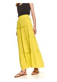 TOP SECRET - Spódnica długa damska gładka. Kolor: żółty. Materiał: dzianina. Długość: długie. Wzór: gładki. Sezon: lato. Styl: wakacyjny