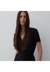 Reserved - Sukienka z wiskozy i lnu - Czarny. Kolor: czarny. Materiał: len, wiskoza