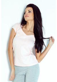 IVON - Bawełniana Koszulka w Serek z Kokardką - Różowa. Kolor: różowy. Materiał: bawełna