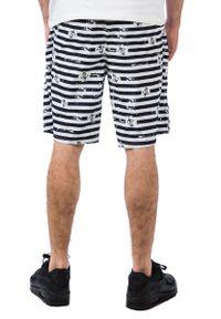 Pako Jeans - Granatowo-Białe Męskie Spodenki Plażowe, Żeglarskie, W Kotwice,Letnie. Okazja: na plażę. Kolor: biały, niebieski, wielokolorowy. Materiał: poliester. Sezon: lato #3