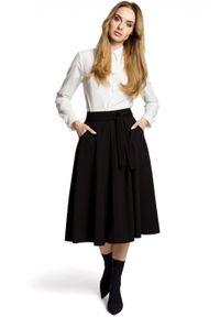 MOE - Rozkloszowana spódnica midi z kieszeniami. Materiał: elastan, materiał