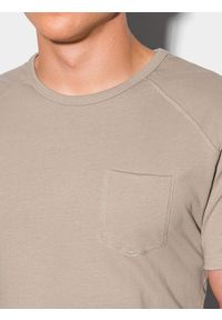 Ombre Clothing - T-shirt męski bawełniany S1384 - popielaty - XXL. Kolor: szary. Materiał: bawełna. Długość: długie. Styl: sportowy, klasyczny
