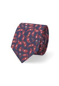 Lancerto - Krawat Granatowo-Czerwony Paisley. Okazja: do pracy, na co dzień. Kolor: niebieski, czerwony, wielokolorowy. Materiał: tkanina, mikrofibra. Wzór: paisley. Styl: wizytowy, klasyczny, casual