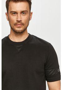 Czarny t-shirt Hugo casualowy, gładki, na co dzień