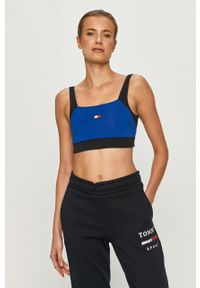 Niebieski biustonosz sportowy Tommy Sport z nadrukiem, z odpinanymi ramiączkami