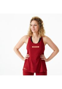 DOMYOS - Top do treningu crossowego damski. Kolor: czerwony. Materiał: bawełna, materiał, poliester. Sport: fitness