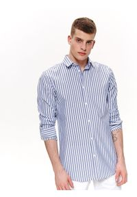 Niebieska koszula TOP SECRET na wiosnę, w paski