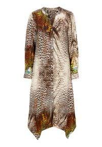 Cellbes Szeroka sukienka we wzory z asymetrycznym dołem we wzory female ze wzorem 38/40. Typ kołnierza: dekolt w serek, kołnierzyk stójkowy. Materiał: tkanina, materiał. Długość rękawa: długi rękaw. Typ sukienki: asymetryczne