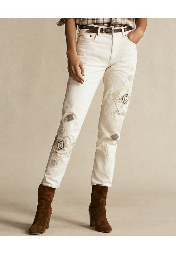 Ralph Lauren - RALPH LAUREN - Beżowe spodnie z aplikacją. Kolor: beżowy. Materiał: bawełna. Wzór: aplikacja