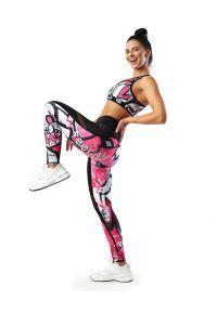 FJ! - Legginsy GRAFFITI z siatką. Materiał: poliester, dzianina, skóra, elastan. Wzór: nadruk. Sport: joga i pilates, fitness, taniec