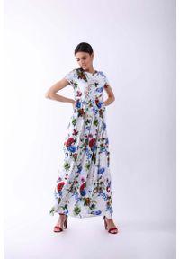 Sukienka wizytowa Nommo maxi, w kwiaty