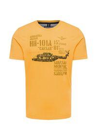 Żółty t-shirt Aeronautica Militare z nadrukiem, z włoskim kołnierzykiem