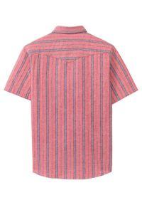 Czerwona koszula bonprix z krótkim rękawem, krótka, w paski