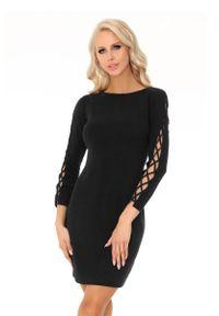 Czarna sukienka wieczorowa Merribel mini, z aplikacjami, ołówkowa