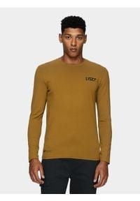 4f - Longsleeve męski. Kolor: brązowy. Materiał: dzianina, bawełna. Długość rękawa: długi rękaw