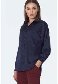 Nife - Elegancka Koszula z Kieszeniami - Granatowa. Kolor: niebieski. Materiał: poliester, elastan. Styl: elegancki