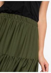 Spódnica z falban z poliestru z recyklingu bonprix ciemny khaki. Kolor: zielony. Materiał: poliester. Długość: długie #4