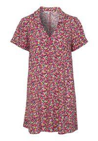 Tunika Cellbes w kolorowe wzory, z dekoltem w serek, krótka, z krótkim rękawem