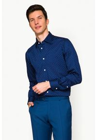Niebieska koszula Lancerto z nadrukiem