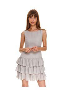 Szara sukienka TOP SECRET w kolorowe wzory, na jesień