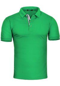 Zielona koszulka polo Recea z krótkim rękawem, casualowa, polo, na co dzień