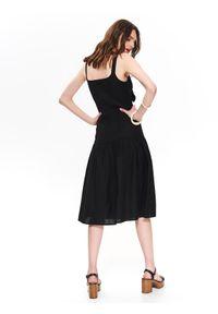 Czarna sukienka TOP SECRET elegancka, na ramiączkach, midi, z dekoltem w serek