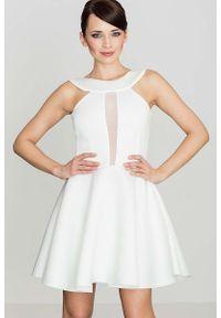 Katrus - Biała Efektowna Rozkloszowana Sukienka z Transparentną Wstawką. Kolor: biały. Materiał: poliester