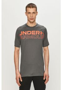 Under Armour - T-shirt. Kolor: szary. Materiał: tkanina. Wzór: nadruk