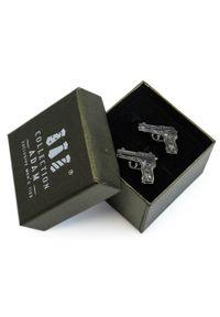 Adam Collection - Grafitowe spinki do mankietów - pistolety A173. Kolor: szary