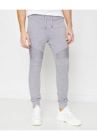 Balmain - BALMAIN - Szare spodnie dresowe. Kolor: szary. Materiał: dresówka. Wzór: aplikacja. Sport: fitness