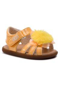 Żółte sandały Ugg na lato, z aplikacjami