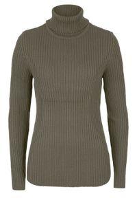 Sweter z golfem, w prążek bonprix ciemnooliwkowy. Typ kołnierza: golf. Kolor: zielony. Wzór: prążki