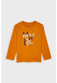 Pomarańczowa koszulka z długim rękawem Mayoral z okrągłym kołnierzem, z nadrukiem, na co dzień, casualowa