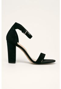 Czarne sandały Aldo na klamry, na średnim obcasie, na obcasie