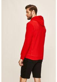 Czerwona bluza Russell Athletic casualowa, z nadrukiem, z kapturem