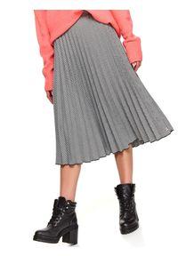 TOP SECRET - Plisowana spódnica w drobną pepitkę. Kolor: czarny. Materiał: materiał. Sezon: jesień