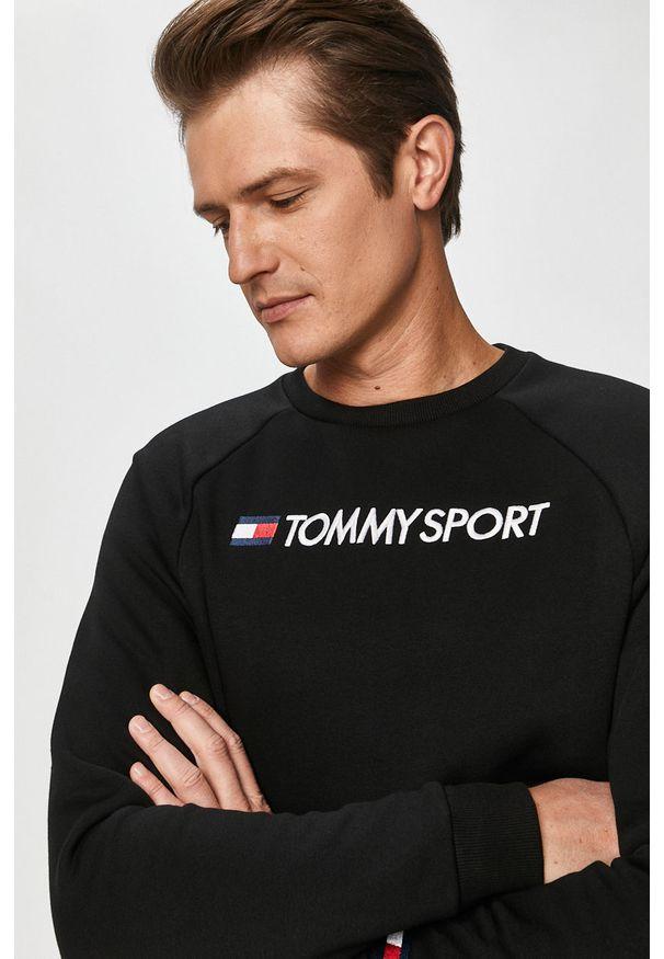 Czarna bluza nierozpinana Tommy Sport casualowa, z aplikacjami, bez kaptura