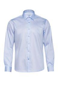 Niebieska elegancka koszula VEVA z klasycznym kołnierzykiem, długa, z długim rękawem