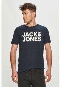 Niebieski t-shirt Jack & Jones na co dzień, z nadrukiem