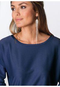 Sukienka z dżerseju, rękawy 3/4 bonprix ciemnoniebieski. Okazja: na co dzień. Kolor: niebieski. Materiał: jersey. Wzór: prążki. Typ sukienki: proste. Styl: casual